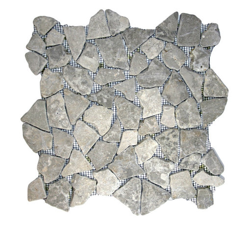 """CNK Tile - Stone Grey Mosaic Tile - Each pebble is carefully selected and hand-sorted according to color, size and shape in order to ensure the highest quality pebble tile available.  The stones are attached to a sturdy mesh backing using non-toxic, environmentally safe glue.  Because of the unique pattern in which our tile is created they fit together seamlessly when installed so you can't tell where one tile ends and the next begins!     Usage:    Shower floor, bathroom floor, general flooring, backsplashes, swimming pools, patios, fireplaces and more.  Interior & exterior. Commercial & residential.     Details:    Sheet Backing: Mesh   Sheet Dimensions: 12"""" x 12""""   Pebble size: Approx 3/4"""" to 2 1/2""""   Thickness: Approx 1/2""""   Finish: Stone Gray Natural"""