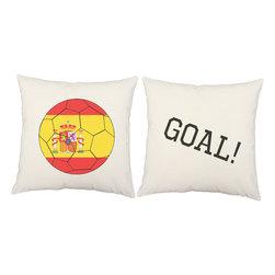 RoomCraft - Spain Flag Soccer Ball Throw Pillows 16x16 White Cushions - FEATURES: