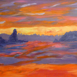 "Vivian Stearns-Kohler/Etoile Creations - Oil Painting - ""Sunset on the Pacific Ocean"" - Luminous sunset on the Pacific Ocean is painted in shades of orange and purple. The undulating ocean reflects the brilliant hues. Inspired by Monet."