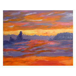 """Vivian Stearns-Kohler/Etoile Creations - Oil Painting - """"Sunset on the Pacific Ocean"""" - Luminous sunset on the Pacific Ocean is painted in shades of orange and purple. The undulating ocean reflects the brilliant hues. Inspired by Monet."""