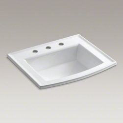 "KOHLER - KOHLER Archer(R) drop-in bathroom sink with 8"" widespread faucet holes - Archer offers a timeless appeal, blending subtle elements of Craftsman woodworking techniques and the intricate facets of jewelry. Distinguished by its beveled edges and clean geometry, the Archer sink creates a universal look that suits an array of bathr"