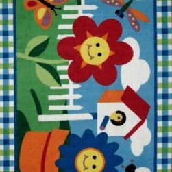 "LA Rug Inc. - Accent Rug: Olive Kids Happy Flowers Multi Colored 19"" x 29"" - Shop for Flooring at The Home Depot. The smiling floral design will turn her room happy every day. This also features the graphics of bee, butterfly and dragonfly, which are usually seen in the garden of flowers. Tufted rug, not machine washable."