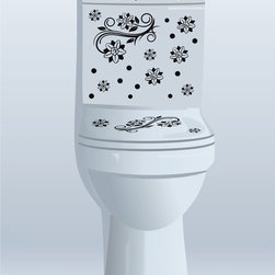 StickONmania - Toilet Design Decal #3 - These decals come with two of each element mirrored, you choose how to place them.A vinyl decal sticker that lets you choose how to decorate. Decorate your home with original vinyl decals made to order in our shop located in the USA. We only use the best equipment and materials to guarantee the everlasting quality of each vinyl sticker. Our original wall art design stickers are easy to apply on most flat surfaces, including slightly textured walls, windows, mirrors, or any smooth surface. Some wall decals may come in multiple pieces due to the size of the design, different sizes of most of our vinyl stickers are available, please message us for a quote. Interior wall decor stickers come with a MATTE finish that is easier to remove from painted surfaces but Exterior stickers for cars,  bathrooms and refrigerators come with a stickier GLOSSY finish that can also be used for exterior purposes. We DO NOT recommend using glossy finish stickers on walls. All of our Vinyl wall decals are removable but not re-positionable, simply peel and stick, no glue or chemicals needed. Our decals always come with instructions and if you order from Houzz we will always add a small thank you gift.