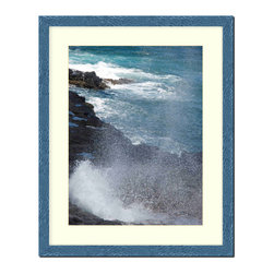 """Frames By Mail - Wall Picture Frame Hammered Blue pearlized finish with a white acid-free matte, - This 20X24 hammered blue pearlized finish picture frame is 1"""" wide and has a white matte for a 16X20 picture that can be removed to accommodate a larger picture.  The frame includes regular plexi-glass (.098 thickness) foam core backing and can hang either horizontal or vertical."""