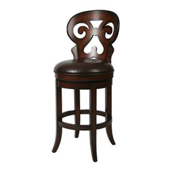 "Pastel Furniture - Hermosa Swivel Barstool - The Hermosa barstool with arms is beautifully made with classic design elements that will add that touch of style to any room.This swivel barstool features a quality wood frame with sturdy legs and foot rest finished in Russet Cordovan.  The padded seat is upholstered in Stallion Brown offering comfort and style. Available in 26"" counter or 30"" bar height. Assembled dimensions for this barstool: 43H x 19.25W x 22.5D"