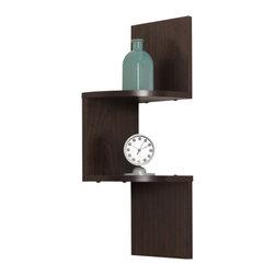 Danya B - Laminated Walnut Wood Veneer Wall Mount Decor Corner Shelf - corner shelf, wall mount shelf, walnut veneer, wall hung shelf, dark wood shelf, laminated shelf