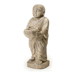 Repose Home - Generous Monk - At almost two feet high, our young monk will be a prominent presence in your home. For the garden, fill the monk's alms bowl with bird seed or water to welcome the feathered friends that visit your backyard.
