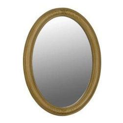 Belle Foret - Belle Foret 33 in. x 25 in. Framed Oval Vanity Mirror, Light Brown (80068) - Belle Foret 80068 33 in. x 25 in. Framed Oval Vanity Mirror, Light Brown