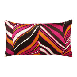 "Trina Turk - Trina Turk Tiger Leaf Pink Embroidered Linen Pillow - The Tiger Leaf throw pillow by Trina Turk embodies the wild and adventurous with fierce strokes of brown, pink, orange and cream. Handcrafted with a focus on contemporary style for your bedroom, den or living space. Pillow measures 26"" x 14""; Linen pillow with embroidered detail; Hidden zipper closure; Down pillow insert included"