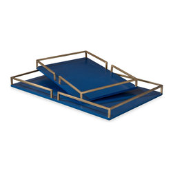 Kathy Kuo Home - Bianca Blue and Gold Hollywood Serving Trays - Small - There's chic, and then there's seriously chic.  This pair of lapis blue and gold contemporary style trays fall into the latter category.  Perfect for a vanity tabletop, stylish bar or as a the foundation of a lovely tabletop display, you really can't go wrong when these two are in the mix.