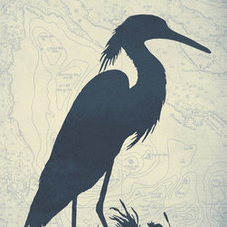 "One Red Buffalo - Blue Heron, 27"" X 40"" X 1.5"" - The perfect wall decor for coastal character with a bold, graphic silhouette of seaside wildlife on a subtle vintage ocean chart background."