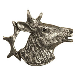 Anne at Home Hardware - Elk Head Knob, Antique Bronze - Made in the USA - Anne at Home customized cabinet hardware enables even the most discriminating homeowner to achieve the look of their dreams.  Because Anne at Home cabinet hardware is designed to meet your preferences, it may take up to 3-4 weeks to arrive at your door. But don't let that stop you - having customized Anne at Home cabinet knobs and pulls are well worth the wait!   - Available in many finishes.