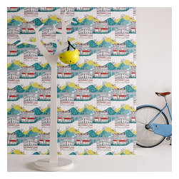Graham & Brown - Tour de Yorkshire Wallpaper - Designed as part of our New Wave collective and printed on our paste the wall paper so the product is both easier than conventional wallpaper to hang and remove, this wonderfully quirky design celebrates the Tour De France which commences in Yorkshire in 2014, featuring cycle tracks runing through the wonderfully illustrative Yorkshire landscape this design is sure to brighten up any room to create a real talking point.