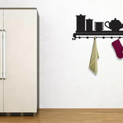 Coat rack wall decals - If you are looking to jazz up the look of your kitchen or dining room, this is the wall decal for you! It's a fun and functional design where you'll be able to hang kitchen utensils, kitchen towels and even keys. It comes in 5 sizes and 4 different colors.