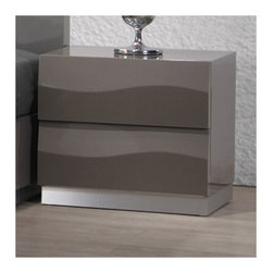 "Chintaly - Delhi 2 Drawer Nightstand - Features: -Delhi collection. -Gloss Grey finish. -2 Drawer. Dimensions: -19.49"" H x 21.26"" W x 16.54"" D, 36.9 lbs."