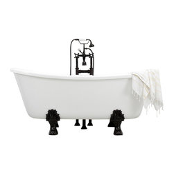 """The Tub Studio - Cellini White Acrylic French Bateau Clawfoot Tub Package with Medici Feet , 67"""" - Product Details"""