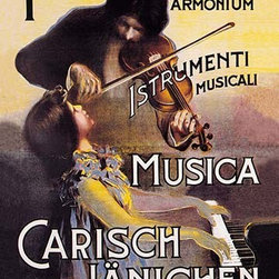 """Buyenlarge.com, Inc. - Pianoforti - Carisch and Janichen Musical Instruments - Canvas Poster 20"""" x 30"""" - A young girl accompanies her father on the piano as he plays the violin on this poster for a musical instrument shop in Milan, Italy."""