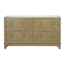 Worlds Away - Worlds Away Four Drawer Limed Oak Veneer Dresser WERSTLER LIO - Four drawer limed oak veneer dresser. All drawers on glides