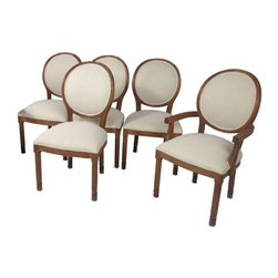 """Used Kreiss White Linen Dining Chairs - Set of 6 - Dine like the beautiful Helen of Troy in this set of 6 Kreiss """"Sparta"""" dining chairs, which includes two arm chairs and four side chairs. They boast white linen upholstery, light brown finished frames, and classic oval backs. A classic, timeless set of dining chairs that look wonderful with most styles."""