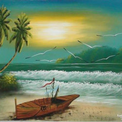 Oriental-Decor - Evening Surf Oriental Painting - A boat rests along a barren beach as the setting sun casts a yellowish tinge in the turquoise colored sky above. Green palm trees gently waive in the breeze and seagulls fly over head in this absolutely breathtaking painting. Use it to inspire a relaxing and joyful mood while creating a beautiful decorative display in the tropical style.