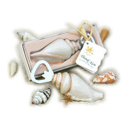 """Handcrafted Model Ships - Seashell Shore Memories Bottle Opener 4"""" - Decorative Nautical Bottle Opener - Create """"Shore Memories"""" with Seashell Bottle Opener 4"""". It is a pretty and practical seashell-handled bottle opener! This top-popper is sure to be the most treasured shell guests pick up during your beach-side wedding! Conversely, you may place this wonderful beach accent in your beach kitchen."""