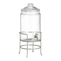 Clear Cold Beverage Jar with Stand - Nothing beats the heat like an ice-cold glass of lemonade. Serve the refreshing beverage in this classic Tuscan glass dispenser and use the iron stand for easy pouring.