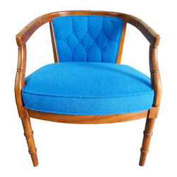 """Consigned Mid-Century Faux-Bamboo Blue Chair - A mid-century faux-bamboo royal blue armchair. Seat, 17.5"""""""