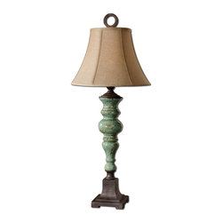 Uttermost - Classic Single Light Fluted Ceramic Table LampBettona Collection - Crackled ceramic finished in an antiqued aqua blue glaze with dark rustic bronze details.