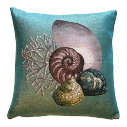Pillow Decor Ltd. - Pillow Decor - Coral and Shells Shimmering Tapestry Throw Pillow - From shining sea to your living room, this enchanting pillow brings the splendor of the ocean into your home. The stunning coral and sea shell design of this glittery blue tapestry pillow is exquisite. Listen closely — you can almost hear the ocean calling.