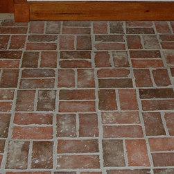 Inglenook Tile Design - Hand made brick tiles, with corners clipped before firing, Inglenook Tile Design.