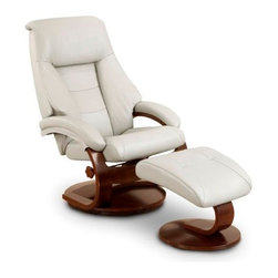 """Mac Motion - Mac Motion Oslo Putty Top Grain Leather Swivel Recliner with Ottoman - Mac Motion Oslo Putty Top Grain Leather Swivel Recliner with Ottoman Norwegian styling never had it so good, with this unique 2 pc matching chair and ottoman, from the """"Oslo Collection"""". Nested within the strong selective hardwood frame with a rich """"Walnut"""" wood frame finish, to match its accented ottoman, this is the winner! Offering a pillow top back rest along each side of the back cushion, along with an angled headrest and """"MX-2"""" memory foam throughout, makes for a therapy comfort, support and styling. All within a standard seating are this models overall width of only 30"""", and fits very comfortably within most home areas. Features include 360 degree swivel, multiple adjustment for personalized reclining positions and matching angled ottoman. Both pieces are covered in """"Top-Grain"""" leather, everywhere you touch. This """"Putty"""" leather color is complimented by the deep """"Alpine"""" wood frame finish, of the quality euro style frame.  Recliner (1), Ottoman (1)"""