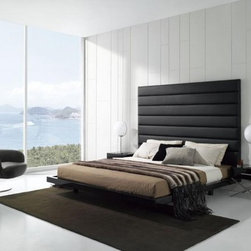 Unique Leather Designer Bedroom Furniture Sets - Extra large padded black leather headboard modern bedroom set. Black and leather always go together, as proven once again in this Modern Leatherette Bed.