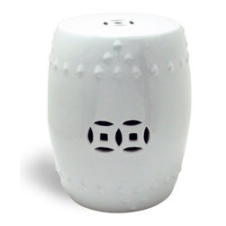Winward Designs - Chinese Garden Stool, Porcelain White - Inspired by Asian antiques and made of porcelain, our Chinese Stool will add style to your garden. This one is in pure porcelain white. Featuring distinctive Asian furniture details, our stool is both functional and decorative. Sit on it while you prune shrubbery, pull weeds and plant seeds. Or bring the outside in and use it as decoration inside your home. Heavy at 33 lbs.