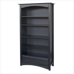 DaVinci Roxanne 5 Shelf Wood Bookcase in Ebony -