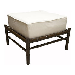 Noir - Noir - Bamboo Ottoman. Distressed Brown - Brown stained birch wood ottoman with off white canvas covered cushion.