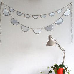 Mirror Bunting Small Half-Circle Banner Garland by Fluxglass - I adore the whimsical and festive nature of these sweet garland mirrors. They're such a great idea! Send what sunlight there is all around the room with these.