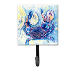 Caroline's Treasures - Crab Leash Holder Or Key Hook - The Single Hook Leash Holder measures 4.25 inches wide by 7 inches high. The tile is made from a hardhoard and is mounted to a metal rectangle. The hook hangs down from the metal plate in the back and is about 2 1/2 inches from the base. The hook opens about 1 inch. A hanger is attached to the metal plate and is about 1 1/2 inches long. Lots of room to hang up using a screw or paneling nail. Great for the home or office to hold keys, leashes or just about anything.
