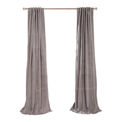 Exclusive Fabrics & Furnishings, LLC - Signature Silver Grey Blackout Velvet Curtain - 100% Poly Velvet. 3 Pole Pocket with Back Tab (Hidden Tab) & Hook Belt Header. Plush Blackout Lining. Imported. Dry Clean Only.