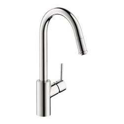 Hansgrohe Talis S2 14872001 Single Handle Pull Down Kitchen Faucet - Don't settle for less, the Hansgrohe Talis S2 14872001 Single Handle Pull Down Kitchen Faucet has the style and innovation to transform your kitchen. Since this faucet is made from solid brass, you can trust that corrosion and bacteria will be a non-issue. You can get the largest of pots and pans easily into the basin with its high-arcing and swiveling spout. The head of the spout easily pulls down to double as a strong sprayer to wash dishes and produce. A ceramic cartridge will keep those annoying drips in the past where they belong. Product Specifications: Mount Type: Deck Mount Handle Style: Lever Valve Type: Ceramic Disc Flow Rate (GPM): 2.2 Swivel: 360 degrees Spout Height: 10.25-inch Spout Reach: 8.25-inch About the Hansgrohe GroupIn 1901, the Hansgrohe Group was founded in Schiltach in the Black Forest in Germany by Hans Grohe. Headquarters for Hansgrohe are still located there today. With a firm establishment in the sanitation industry, Hansgrohe offers progressive, design-oriented bathroom solutions and cutting-edge bathroom products. Successful world-wide, Hansgrohe has 10 production facilities on three continents, and sales companies and consulting support locations in 36 countries. Hansgrohe's five-star recipe for success includes, innovative products, a sustainable business concept, and the passion for the element of water..