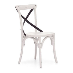 Zuo Modern - Zuo Union Square Chair in White [Set of 2] - Union Square Chair in White by Zuo Modern Modeled after the most popular caf� chair in Europe, our versatile X-back dining chair comes in natural, antique black, and antique white. Frame is solid wood with antique metal accents. Chair (2)