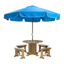 All Things Cedar - All Things Cedar UB33 Patio Umbrella in Tan, Blue, Lime, Light Blue - Large 10 foot umbrella with roman flap design.  8.5 ft x 1.5 in. thick aluminum powder coated 2pc. pole comes with solid brass tilt hold and easy canopy crank.  Rib cage is a heavy duty aluminum 8 spoked cage with reinforced hub.  Canopy is vented for strong wind resistance, made using heavier 220g polyester and is available in 3 colors: Tan, Light Blue, Lime Green.    Dimensions:   120 x 120 x 102 in. (w x d x h)