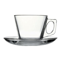 Hospitality Glass - 2 3/4H x 3.25T x 2.25B Cappuccino Cup & Saucer 24 Ct - Cappuccino Cup & Saucer