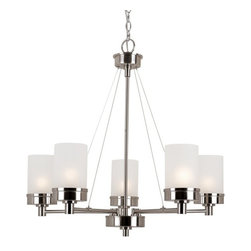 Transglobe - Urban Swag 5-lt Chandelier - Industrial architect lighting decor for urban lifestyles. Edgy lines and crisp white frosted glass. Complete indoor collection. Includes 6' chain.