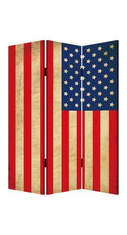 Screen Gems - Screen Gems American Flag Screen - Three Panels - This is a 3 panel screen printed on canvas. The screen is two sided with different and complementary images on each side. It is light weight and very easy to move. The screen also has inspirational wall decor applications.