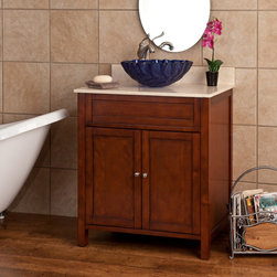 "30"" Darin Vessel Sink Vanity - Add style and function to your small to medium sized bath or powder room with the 30"" Darin Vessel Sink Vanity, which has a beautiful Cherry finish."