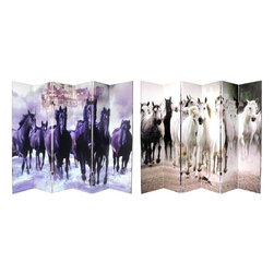 Oriental Furniture - 6 ft. Tall Double Sided Horses Canvas Room Divider 6 Panel - An extra wide six panel design, with a remarkable action photo of a galloping herd of white horses on one side, black horses on the other.