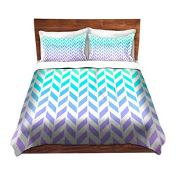 DiaNoche Designs - Duvet Cover Microfiber by Organic Saturation - Ombre Herringbone Pattern - DiaNoche Designs works with artists from around the world to bring unique, artistic products to decorate all aspects of your home.  Super lightweight and extremely soft Premium Microfiber Duvet Cover (only) in sizes Twin, Queen, King.  Shams NOT included.  This duvet is designed to wash upon arrival for maximum softness.   Each duvet starts by looming the fabric and cutting to the size ordered.  The Image is printed and your Duvet Cover is meticulously sewn together with ties in each corner and a hidden zip closure.  All in the USA!!  Poly microfiber top and underside.  Dye Sublimation printing permanently adheres the ink to the material for long life and durability.  Machine Washable cold with light detergent and dry on low.  Product may vary slightly from image.  Shams not included.