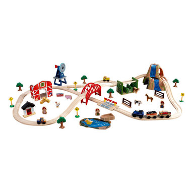 Kidkraft - KidKraft Farm Train 75 Piece Set - Kidkraft - Train Tables and Sets - 17827 - Not even Old McDonald's farm was this fun! Our brand new Farm Train Set is made up of 75 total pieces including a red barn adorable farm animals and a large windmill. This set is built to last and makes a fun gift for any of the young farmers in your life.