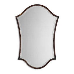 "Uttermost - Uttermost 13584 B  Abra Bronze Vanity Mirror - This shapely, beveled mirror features a narrow frame finished in lightly distressed bronze with burnished details. mirror has a generous 1 1/4"" bevel."