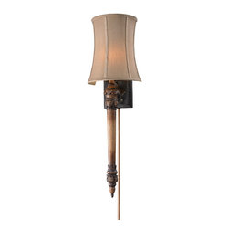 Elk Lighting - Elk Lighting 26003/1 1- Light Wall Sconce in Dark Beige - 1- Light Wall Sconce in Dark Beige belongs to Torch Sconces/Monet Garden Wall Sconce Collection by These Dramatic Torchiere Style Wall Sconces Cast A Warm, Inviting Light. Each Sconce Has A Highly Detailed Frame With A Rich, Multi-Layered Finish And A Unique Shade That Compliments The Design. Sconce (1)